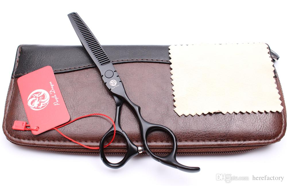 "Z1010 6"" Japan Purple Dragon Black Professional Human Hair Scissors Barber's Hairdressing Scissors Cutting Thinning Shears Salon Style Tools"