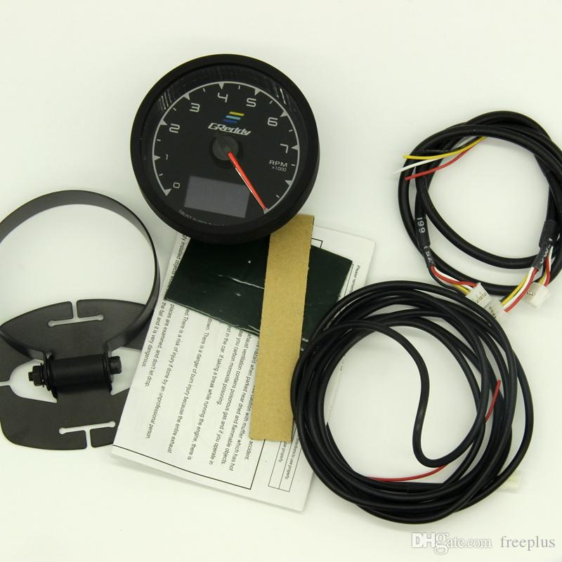 62mm 2.5 인치 7 색 1 레이싱 GReddy 멀티 D / A LCD 디지털 디스플레이 RPM 게이지 타코미터 센서