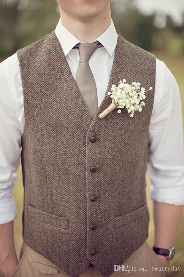 Düğün Yün Balıksırtı Tweed Custom Made Slim Fit Erkek Takım Elbise Yelek Çiftliği Abiye Yelek Artı Boyutu için 2020 Ülke Kahverengi Damat Yelekler
