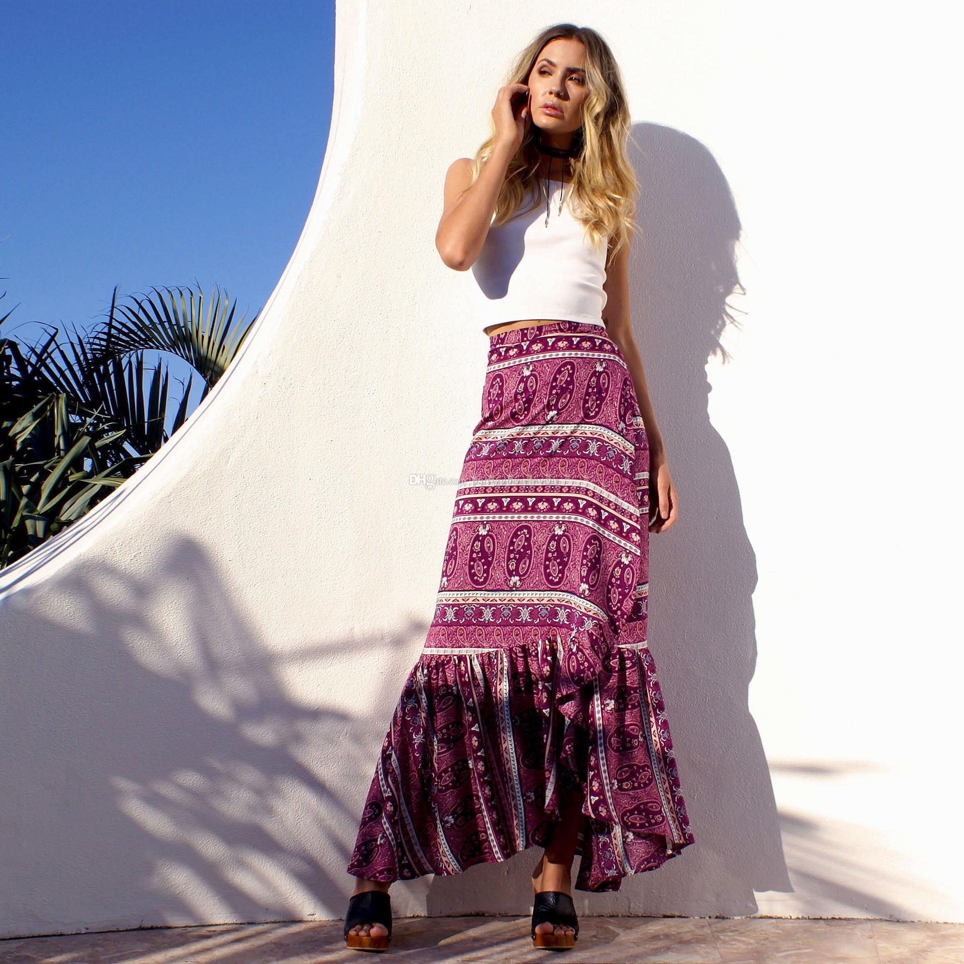 5eaedbde393 Fashion Summer Holiday Irregular Skirt Wrap Dresses Women Sexy Boho ...
