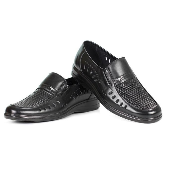 Hollow Out Breathable Men Casual Shoes Summer New Business Style Quality Genuine Leather Round Hole Shoes Big Size