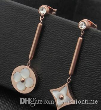 Titanium steel jewelry wholesale single drill hanging stick four-leaf agate stud earrings 18K gold onyx four-leaf flower studs
