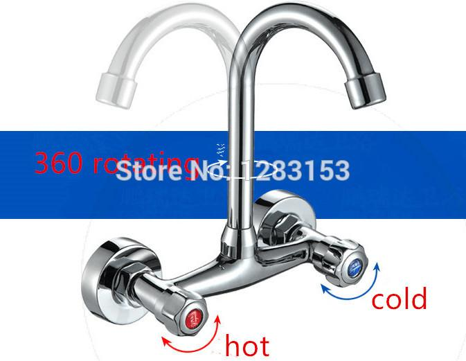 Wholesale Kitchen Faucets Double Hands Round Bathroom Sinks Wall In