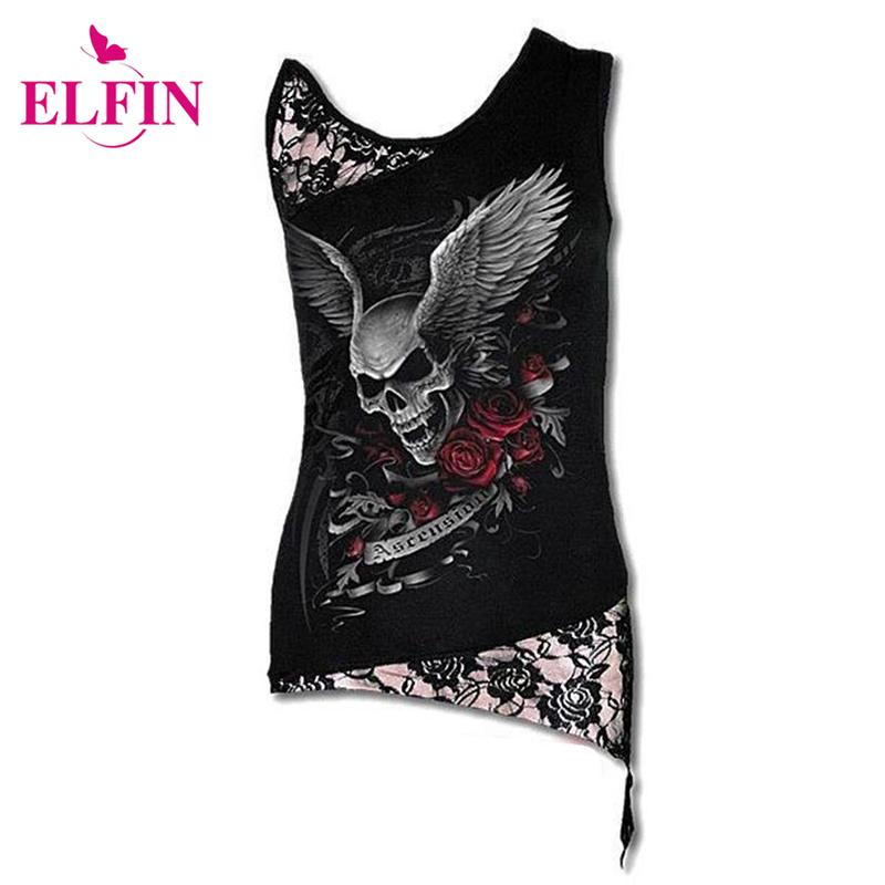 bd3ccb70f7c31 Wholesale Women T Shirt Sexy Skull Print Sleeveless Punk Tee Shirt Lace  Patchwork Black Tee Tops Pullovers Plus Size LJ8403R Tshirt Designs T Shirt  Design ...