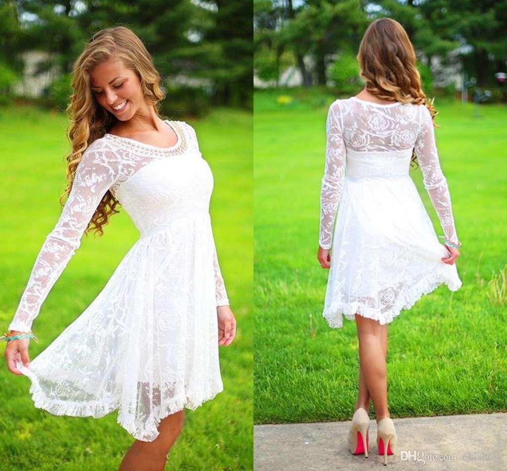 2017 New Short Country Long Sleeves Wedding Dresses Crystal Neckline Knee Length Lace Wedding Gowns Short Beach Bridal Wedding Dresses