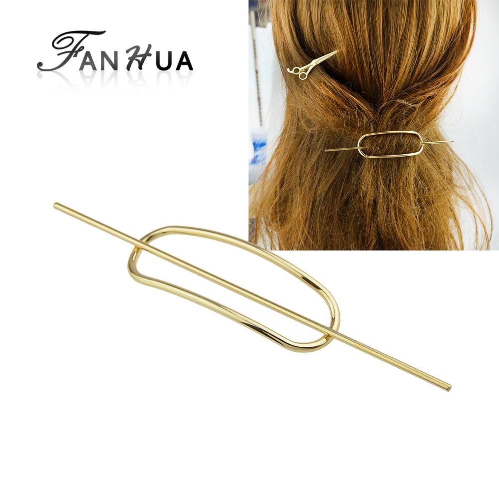2018 Hair Jewelry Gold Color Silver Color Geometric Hair Sticks