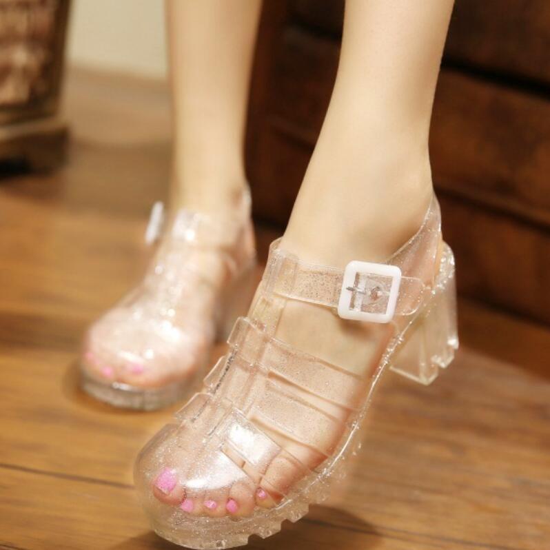 60d2a3b533a Koovan Women Sandals 2017 Summer New Fashion Retro Crystal Thick  Transparent Plastic Woman Sandal T-Roman Sandals Jelly Shoes Size 35-40 Women  Sandal Summer ...