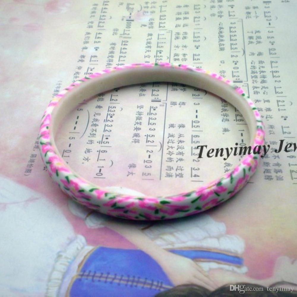 Mixed Color Bohemian Style Printed Polymer Clay Bangle For School Girls 8mm Width Wholesale