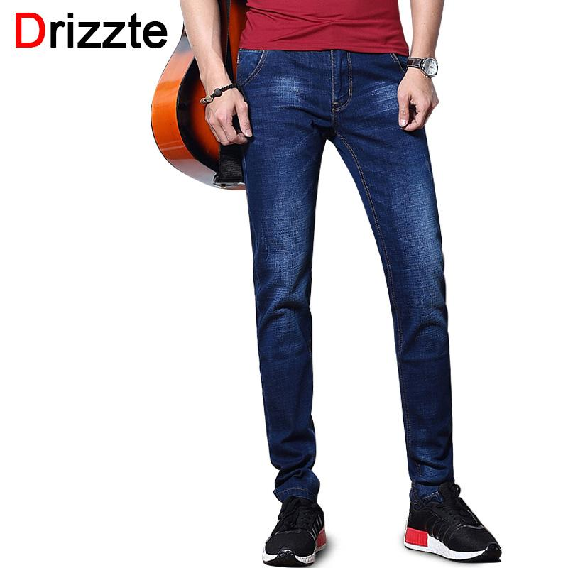 ce4cedb1914e Wholesale- Drizzte Fashion Men's Jeans Summer Stretch Blue Thin ...