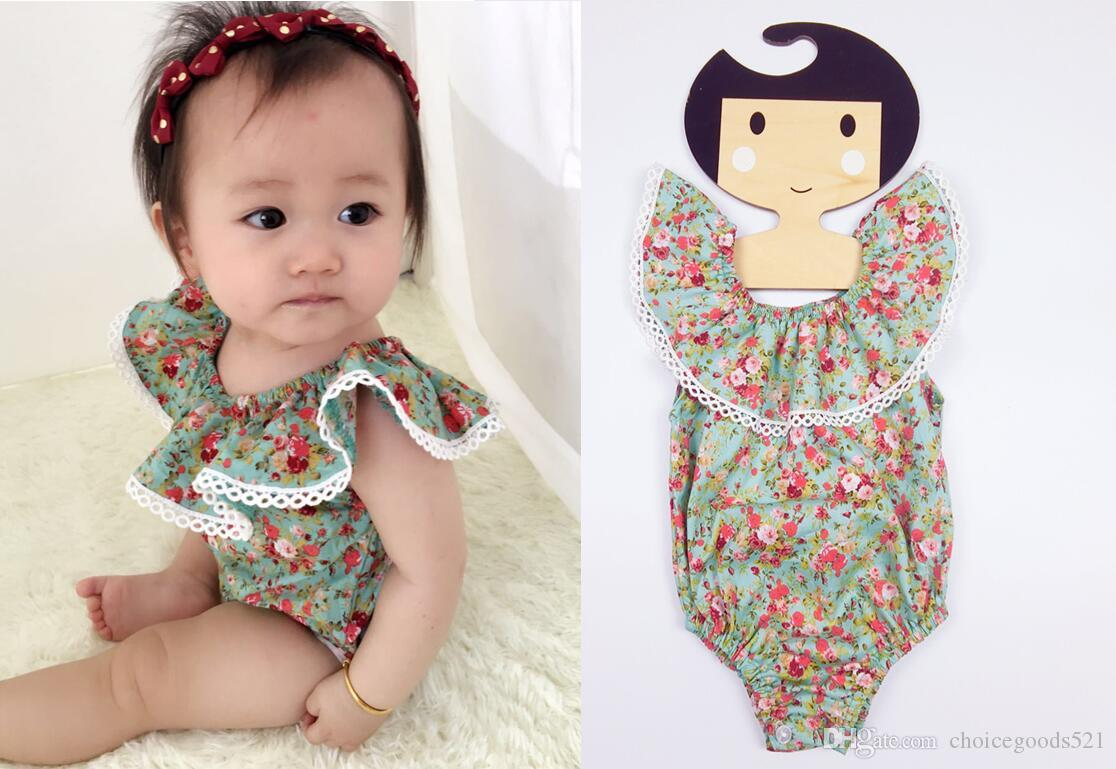b7a52711057b Baby Rompers Lotus Leaf Sleeveless Floral Jumpsuits Cotton Rompers ...