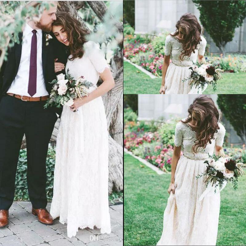4bed21e87e Discount Short Sleeves Modest Wedding Dresses 2018 Vintage Lace A Line  Floor Length Boho Bridal Gowns Long Outdoor Vestidos De Novia New Cheap  Dresses T ...