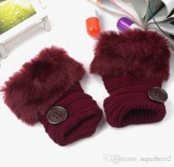 luvas botão luvas menina das mulheres de malha Faux Rabbit Fur Fingerless aquecedor do inverno Mittens ao ar livre colorido do presente Acessórios de Moda de Natal