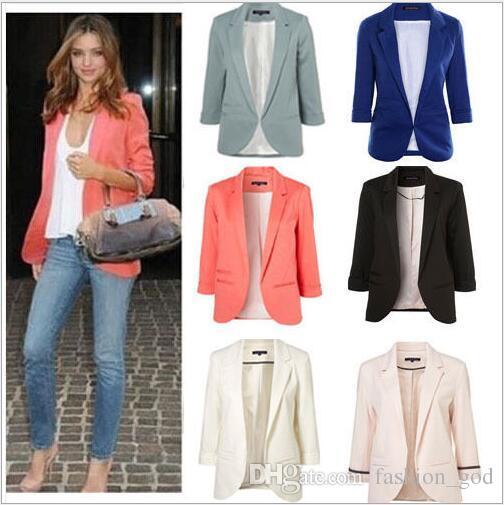 5e7e77e23241 Compre Trajes De Mujer Blazers Ladies Business Coats Office OL Cardigan  Chaquetas De Moda De Invierno Tops Delgados Blusa Casual Vestidos Formales  Ropa ...