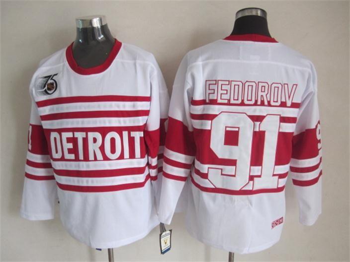 Mens Detroit Red Wings Sergei Fedorov Hockey Jersey 91 Sergei Fedorov CCM 빈티지 2014 겨울 클래식 Alumni 유니폼 75th 패치