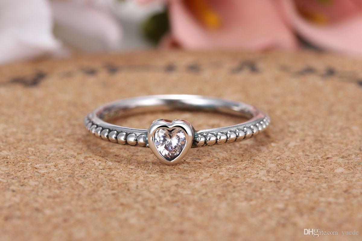 Großhandel 925 Silber Herz ring Fit Pandora cz Jahrestag Schmuck für Frauen weihnachtsgeschenk