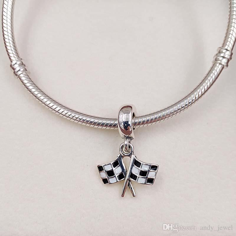 Genuine S925 Sterling Silver European Beads Chequered Flags Pendant Charm Fit Brand ALE Style Bracelets & Necklace 791508ENMX