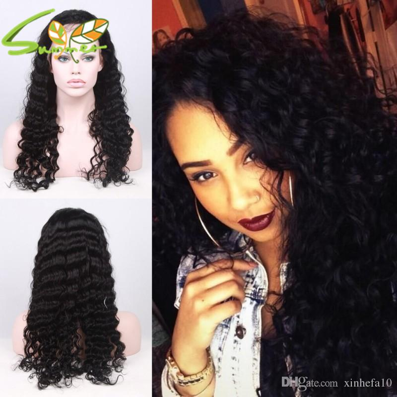 130% density deep wave lace front Brazilian Virign human hair wigs full lace wig for black women