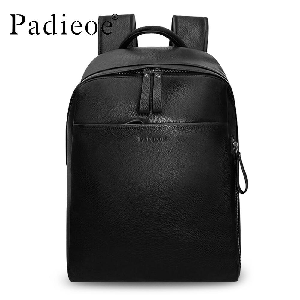 c2f67c6505ac Wholesale Padieoe Genuine Leather Backpack For Man Real Cowhide Large Male  Bckpack Double Zipper Travel Rucksack Classic Unisex Black Bags Hydration  ...