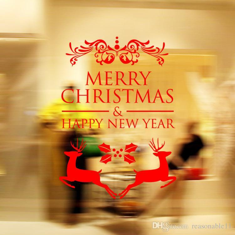 Adesivi Buon Natale.Buon Natale Adesivi Murali Decorazione Babbo Natale Regali Albero Negozio Vetrofanie Smontabile Decalcomanie In Vinile Decorazioni Di Natale
