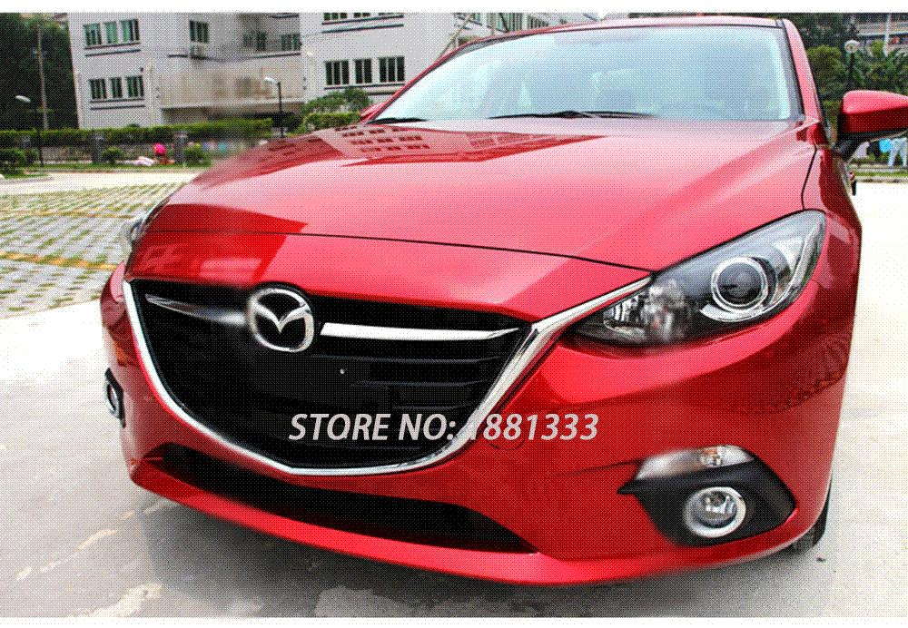 Best For Mazda 3 M3 Axela 2014 2015 Front Grille Grill Cover Trims Abs Chrome Auto Exterior