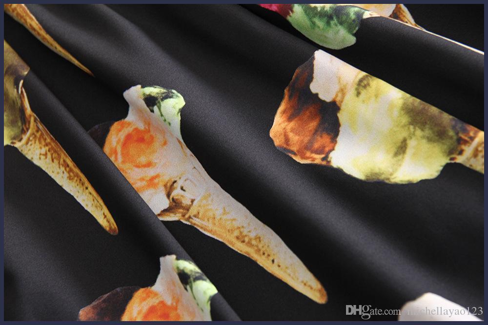 Pist Elbiseler 2017 Siyah / Beyaz Dondurma Baskı Kısa Kollu Bir Çizgi Kadın Elbise Moda Vestidos De Fiesta D061739