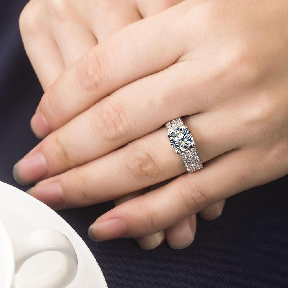 Imitazione Famous Brand 2CT SONA gioielli con diamanti sintetici Propongono le donne gioielli in argento sterling 925 Anello di fidanzamento 925
