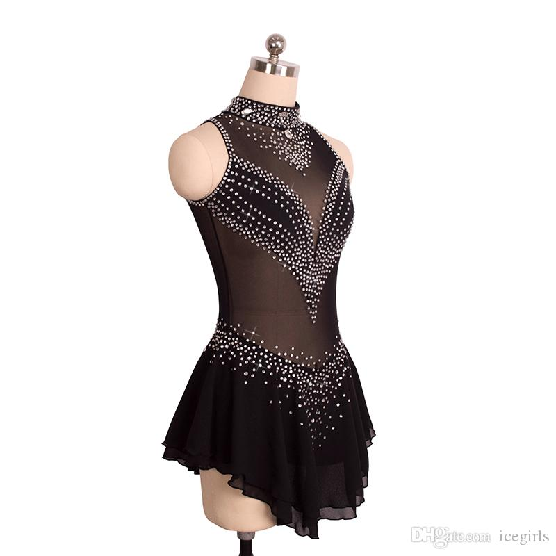 Attractive High Neck Sleeveless Girls Training Dress Skating Competition Fashion Dress On Ice With Stones Hot Selling