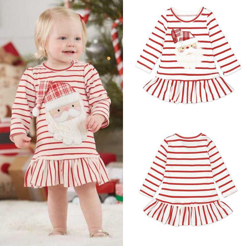 2018 Baby Girls Christmas Dresses Santa Claus Striped Long Sleeve