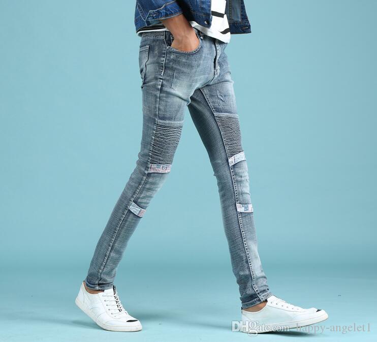 Compre Pantalones Vaqueros Rotos Para Hombres De Alta Calidad Azul Claro Jeans Hombres Talla 28 38 Diseno De Marca Denim Biker Jeans Para Hombre Pantalones A 27 91 Del Happy Angelet1 Dhgate Com