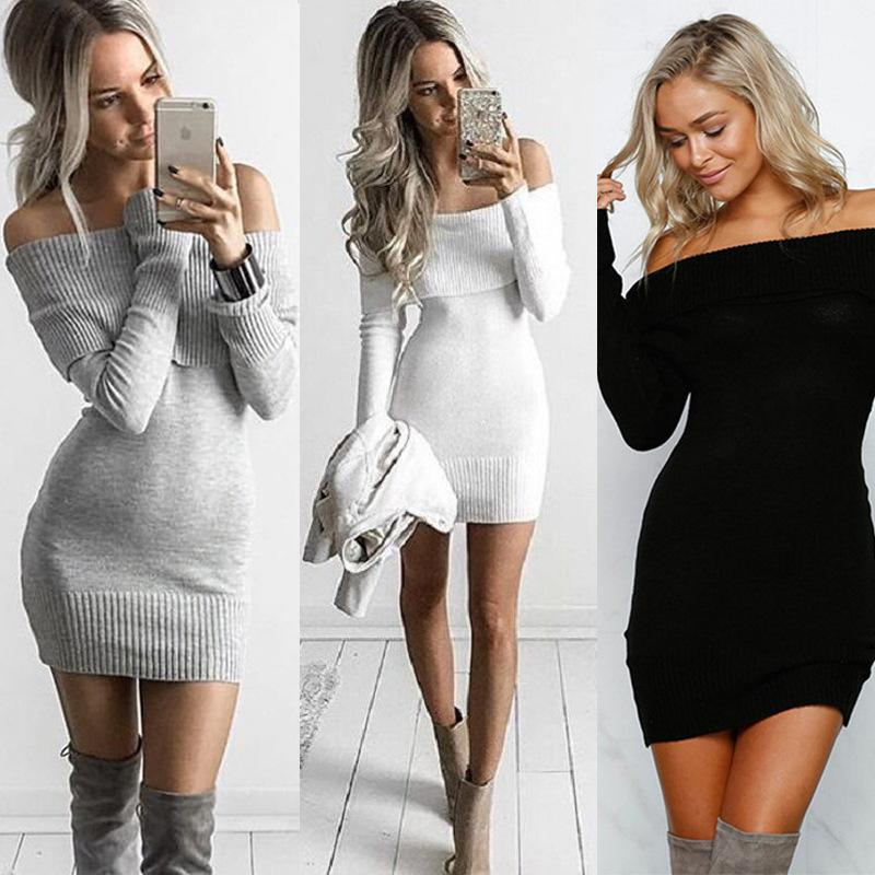 d45e032a567 2019 Warm Winter Black Slash Neck Casual Bodycon Women Sweater Dress Long  Sleeve Off Shoulder Fall Dress Ruffle Vestidos DZY170812 From Bellystyle