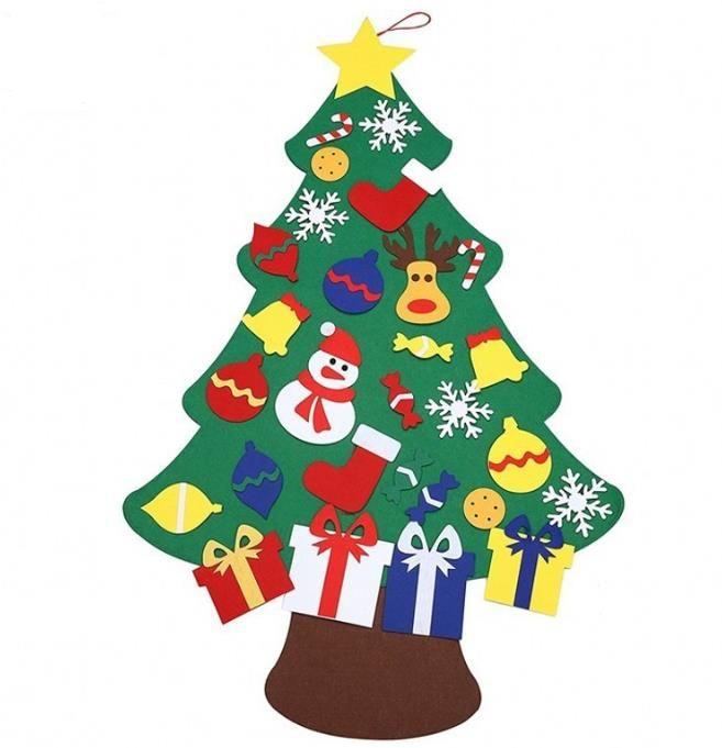 2017 NEW Kids DIY Felt Christmas Tree Set with Ornaments Children Gift Toddler Door Wall Hanging Preschool Craft Xmas Decoration
