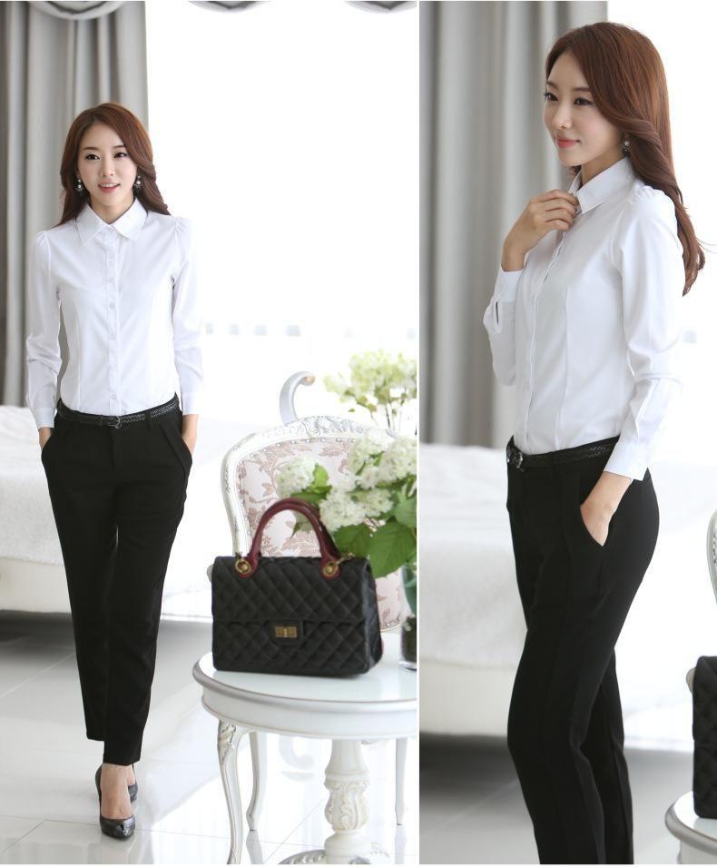 00d83576e69 Blouses Shirts White Shirt Office Lady OL work wear Long Sleeve Tops Slim  Women's Blouse Shirts S-4XL Plus Size casual blusas blusa Fre