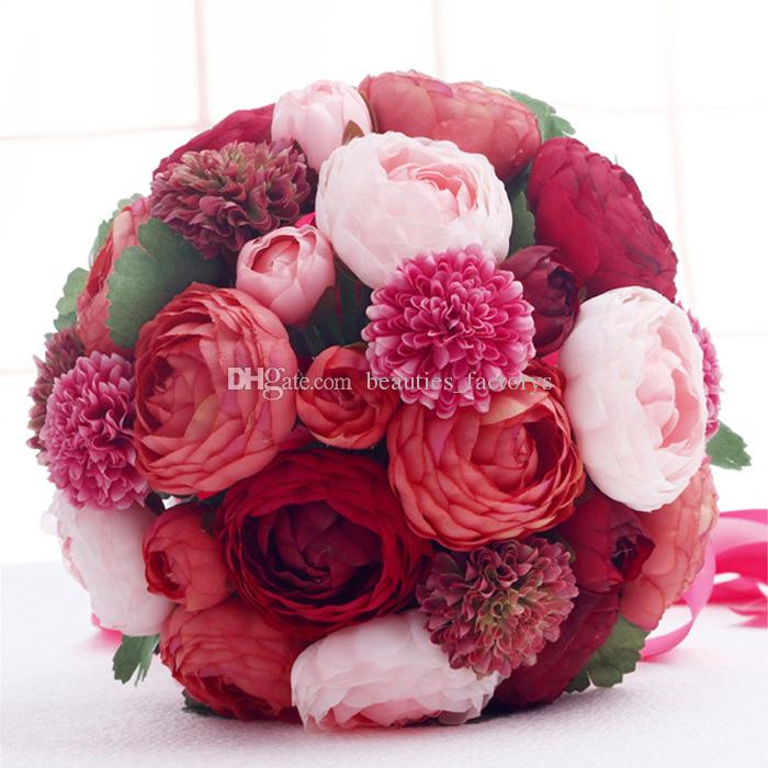 26cm Red Bride Holding Bouquet Artificial Cascading Silk Wedding Flowers Camellia Flower with Green Leaf New