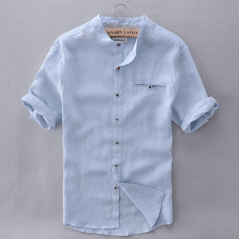 0fb61967883 2019 Wholesale French Style Brand Shirt Men Linen Summer Short Sleeve Casual  Men Shirt Fashion Solid Shirts Mens Business Clothing Mens Shirts From  Easme