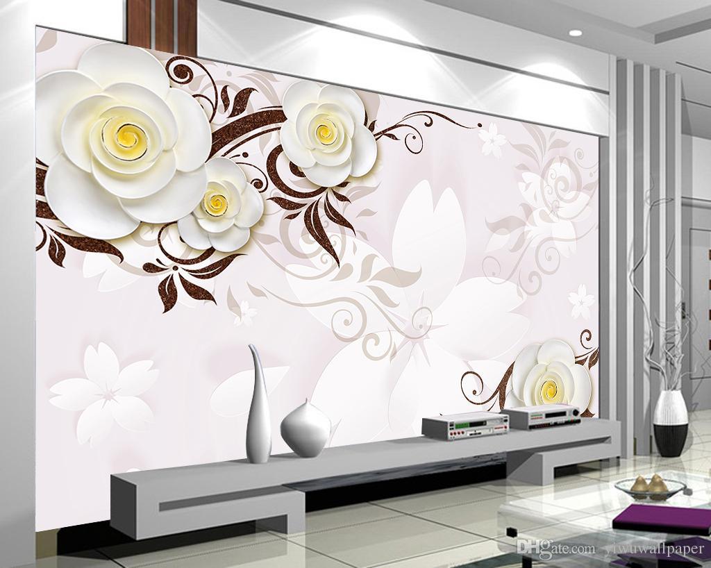la pared de fondo de alivio de TV mural de papel pintado 3D papeles de la pared 3d estéreo flores blancas para TV telón de fondo