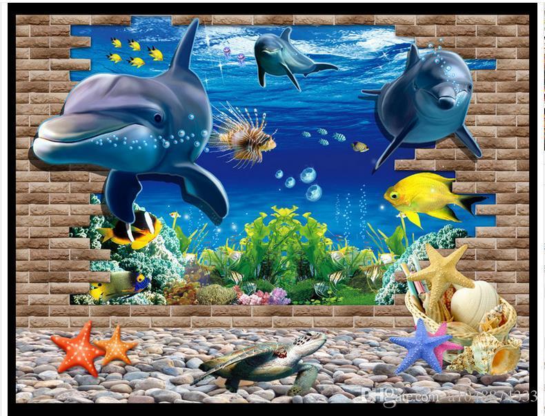 High end Custom 3d photo wallpaper murals wall paper 3D Seaside World Dolphin TV Wall 3D living room wallpaper background wall home decor