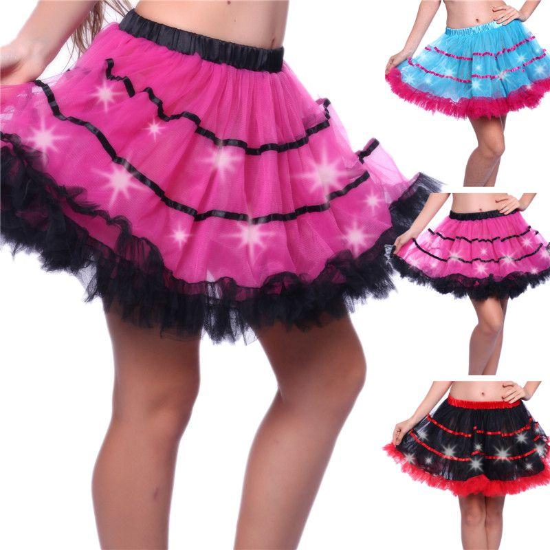 Compre Luz Led Sexy Mujeres Tutú Mini Faldas De Tul Sólido Vestido ...