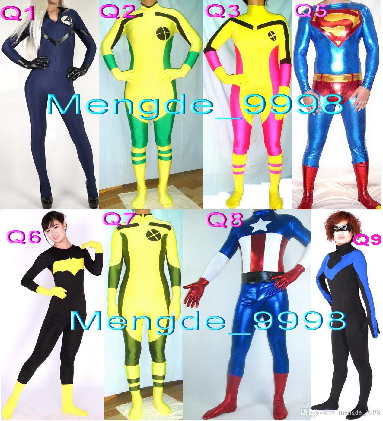 New 8 Style Superhero Suit Costumes Sexy Lycra Women 4# Suit Rogue X Men Superwoman Bat Captain Catsuit Costumes Halloween Cosplay Suit M151 5 Person Group ...  sc 1 st  DHgate.com & New 8 Style Superhero Suit Costumes Sexy Lycra Women 4# Suit Rogue X ...