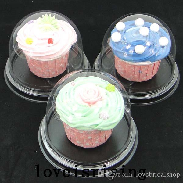 High Quality--=Clear Plastic Cupcake Boxes Favors Boxes Container Wedding Party Decor Gift Boxes Wedding Cupcake Cake Dome