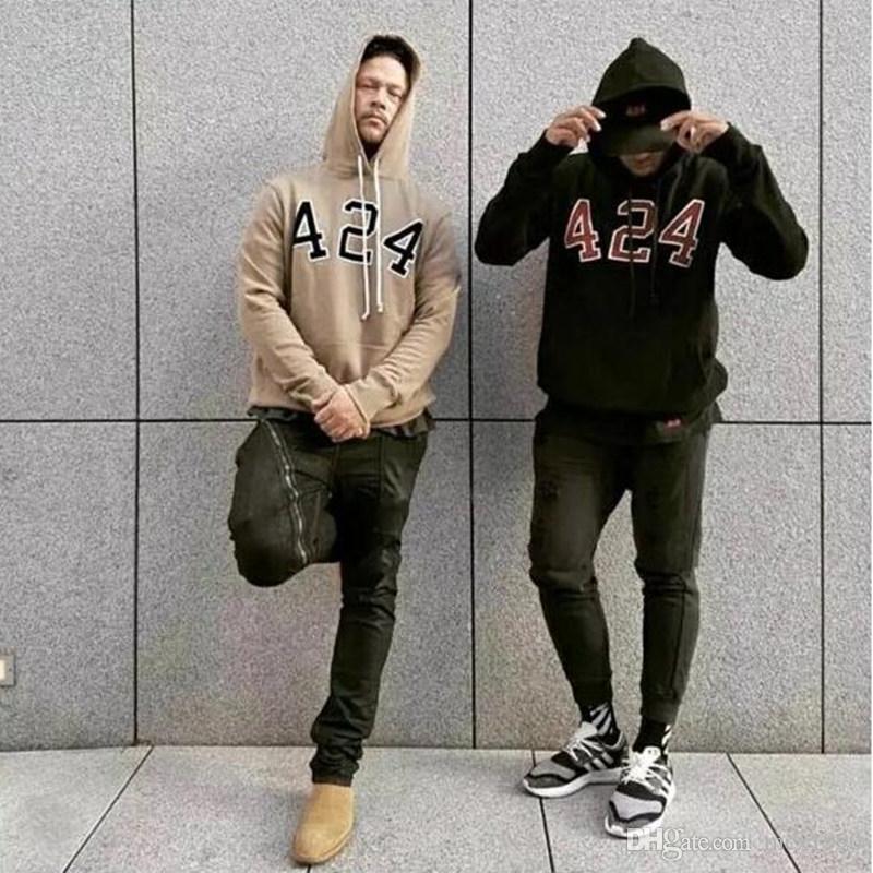Новая мода 424 цифровой Hoodie Beige Цель тура Толстовка Gorilla Wear Hiphop Толстовка скейтборд Wes Высокое качество Tracksuit Мужчины