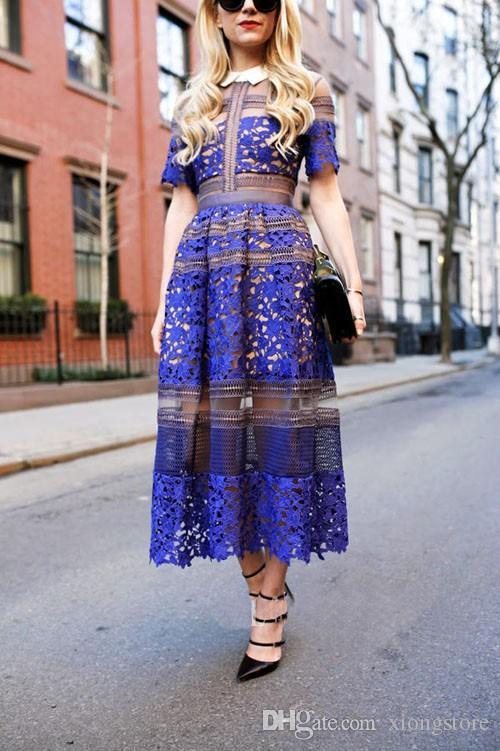 2019 с коротким рукавом новое поступление бренд стиль кружева крючком платье женские платья длинные макси до щиколотки платье моды взлетно-посадочной полосы синий