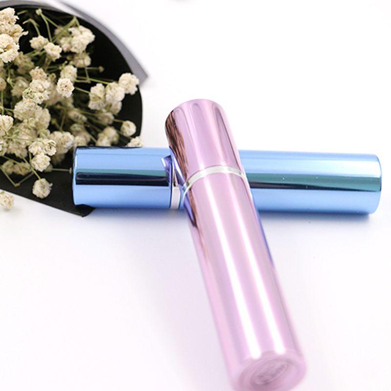 Botella de perfume 7ml tubo de aluminio botellas brillantes atomizador Spray Travel glass botella recargable es negro rosa azul rosa Inicio Fragancias