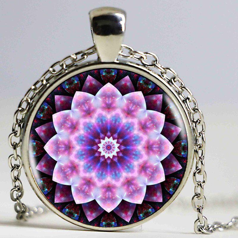 Flower of life Tibetan Om Mandala Necklace Gray Om jewelry Vintage Buddhism Meditation Jewelry Glass Dome Pendant Antique Bronze Women