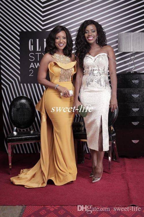 Vestido de noche atractivo de la sirena 2019 Scoop Neck Crystal Beaded Satin Dusty Amarillo Tallas grandes Celebrity Dresses Mujeres africanas Vestidos de noche formales