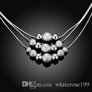 Al por mayor - El precio bajo al por menor regalo de Navidad 925 joyas de plata de moda envío gratis Collar bN020