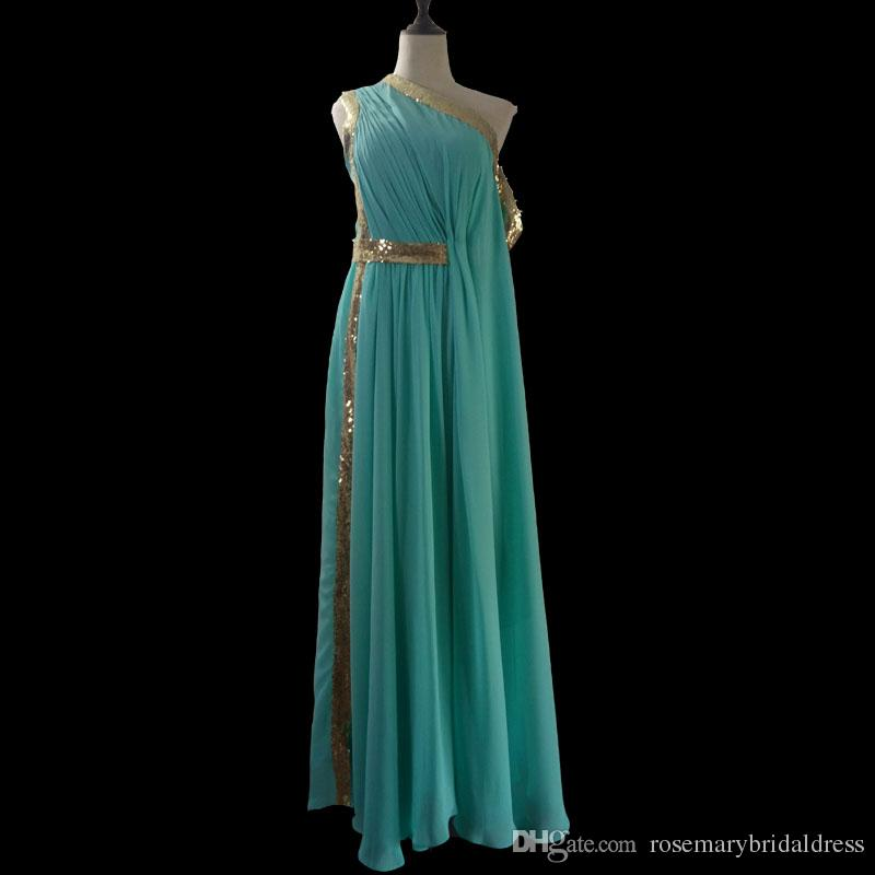 Mint Green Elegant Indian Evening Dresses One Shoulder With Golden ...