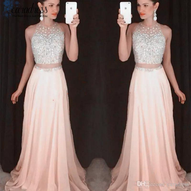 Großhandel Sparky Two Piece Prom Kleider Pink Crop Top Silber ...