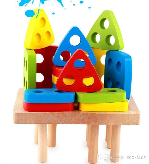 Factory Wholesale wood toys fancy early childhood toys wooden montessori would AIDS toys Geometric shape matching Assembly blocks
