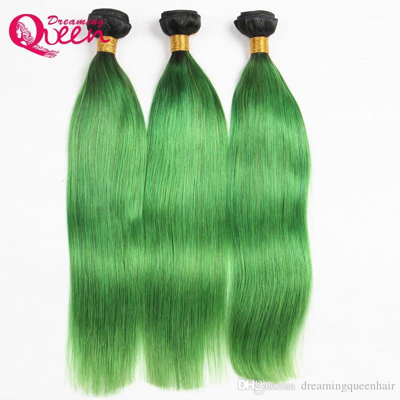 T1b Emerald Green Ombre Brazilian Straight Human Hair Bundles
