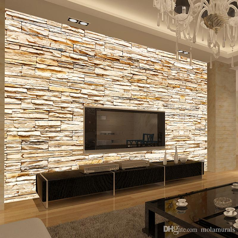Non woven fashion 3d stone bricks wallpaper mural for for Home decor 3d wallpaper